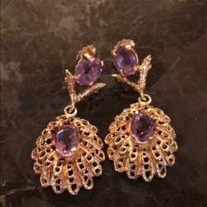 14K gold and amethyst earrings